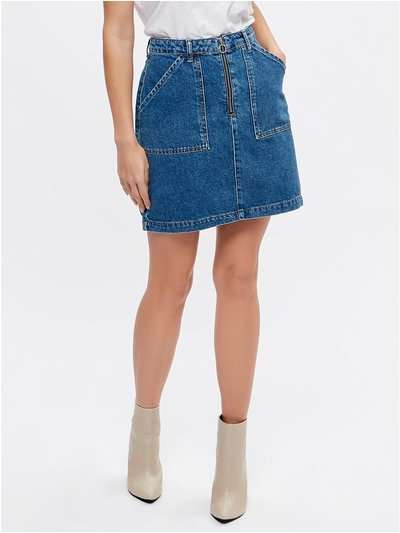 Petite zip front denim skirt