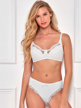 Ivory Non-Wired Lace Trim Lingerie Set
