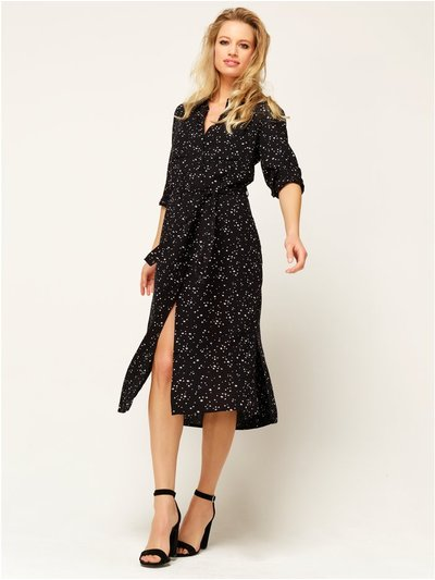 Star print midi shirt dress
