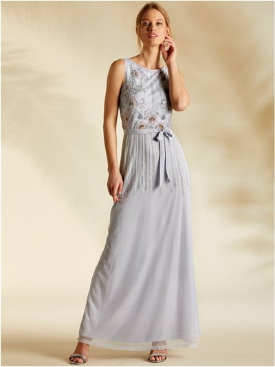 Sleeveless beaded maxi dress