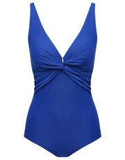 Blue twist front tummy control swimsuit