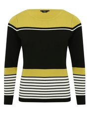 Petite stripe colour block jumper