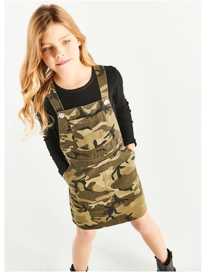 Camo print denim pinafore dress (3-12yrs)