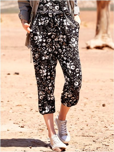 Leopard print cropped trousers
