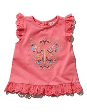 Embroidered butterfly frill t-shirt