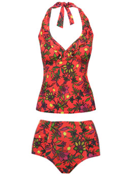 Tropical Floral Halterneck Tankini Set