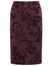 Paisley print flocked pencil skirt