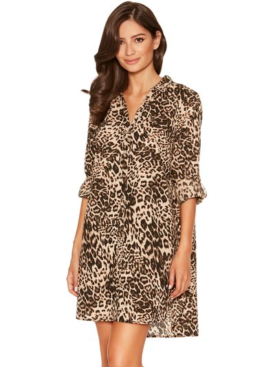 Oversized leopard print beach shirt