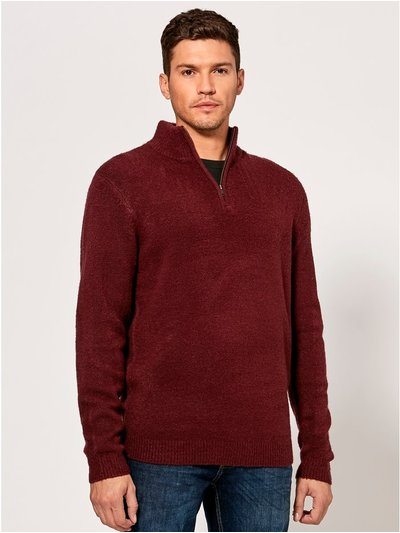 Zip neck knit jumper