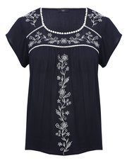 Petite floral embroidered panel top