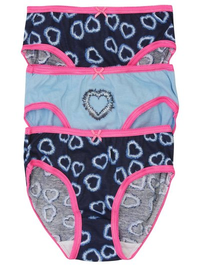 Love heart tie dye briefs three pack (2-10yrs)