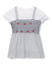 Cherry embroidered two in one top (3 - 12 yrs)