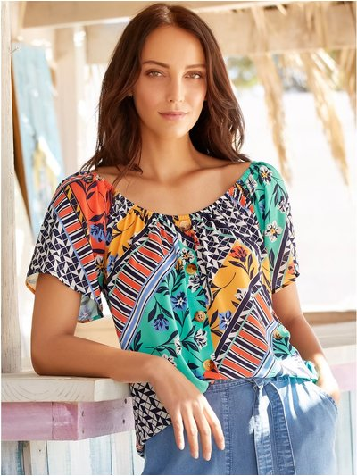 Floral mix print button front top