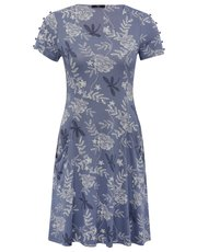 Petite feather print swing dress