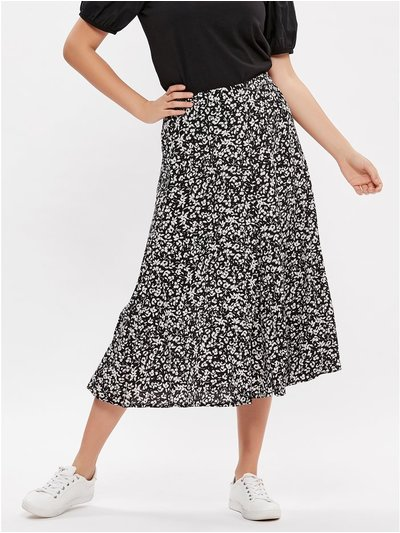 Floral ditsy midi skirt