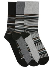 Gentle Grip striped socks three pack