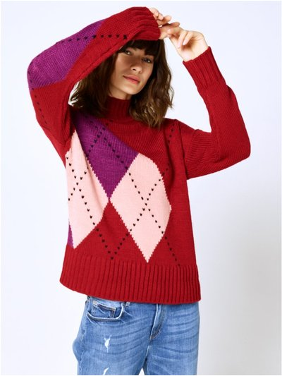 Argyle knit jumper