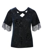 Floral lace devore top