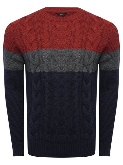 Colourblock cable knit jumper