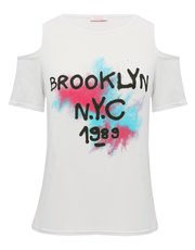 Brooklyn spray paint print cold shoulder t-shirt