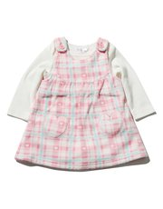 Checked fleece pinny dress and bodysuit set