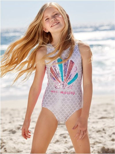 Sequin shell swimsuit
