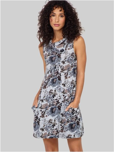 Izabel floral roll neck tunic dress