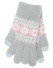 Fair isle eyelash fleece gloves