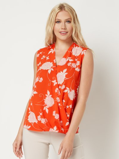 Roman Originals floral sleeveless wrap top