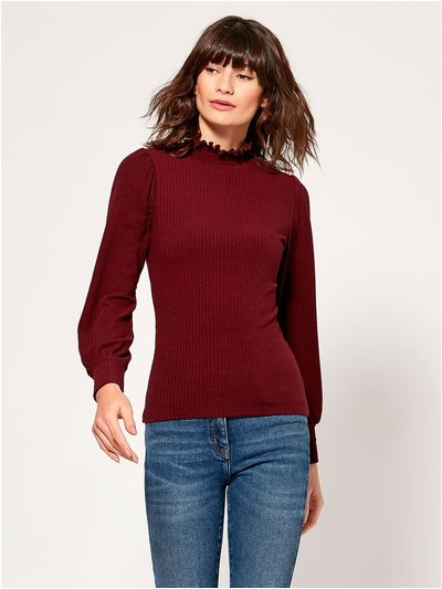 Shirred high neck top