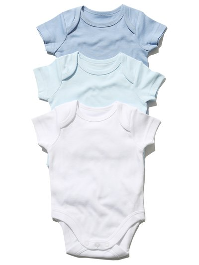 Blue short sleeved bodysuits three pack (Tinybaby-18mths)