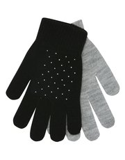 Teen silver studded gloves