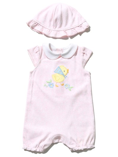 Duck embroidered romper and hat (Newborn - 18 mths)