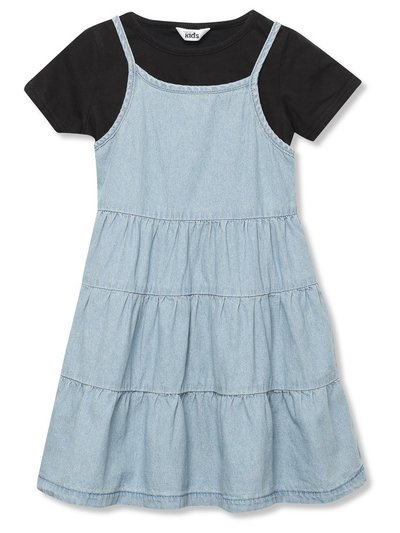 Tiered denim dress and top set (3-12yrs)