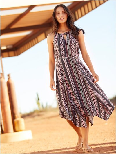 Tribal print hanky hem dress