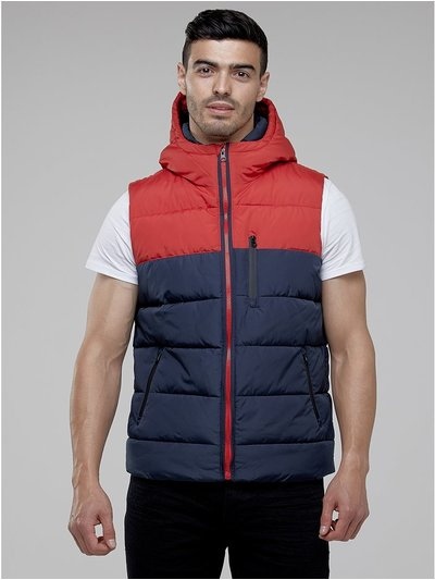 Colour block puffer gilet