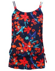 Tropical print blouson tankini top