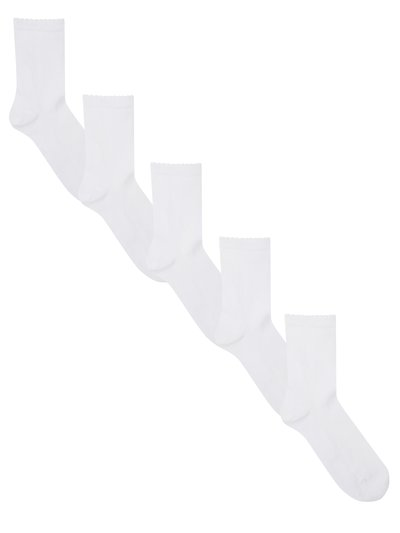 White picot ankle socks five pack