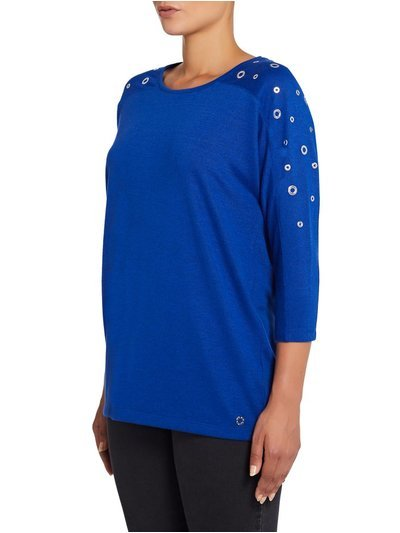 VIZ-A-VIZ eyelet shoulder batwing top