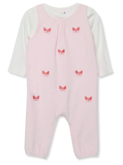 Butterfly velour dungarees and bodysuit set (Newborn-18mths)