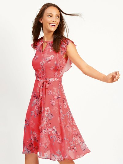 Floral print frill sleeve fit and flare dress
