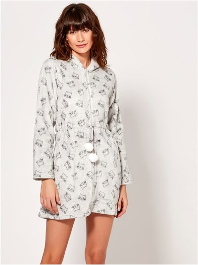 Cat Print Fleece Zip Front Dressing Gown