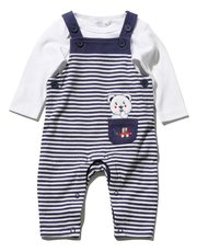 Bear stripe dungarees and bodysuit set