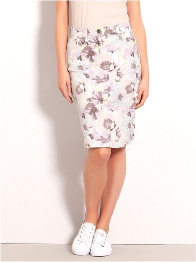 Floral print twill A-line skirt