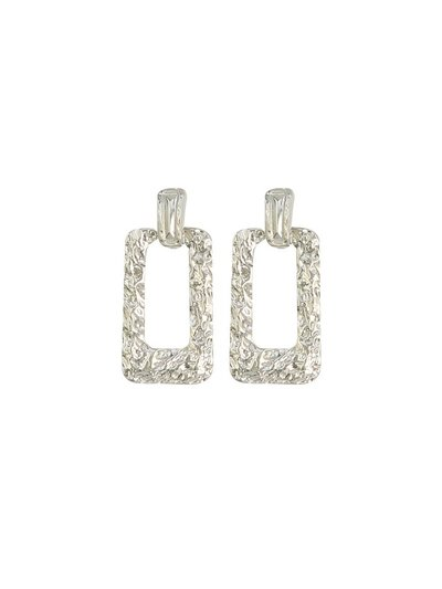 Hammered square drop earrings