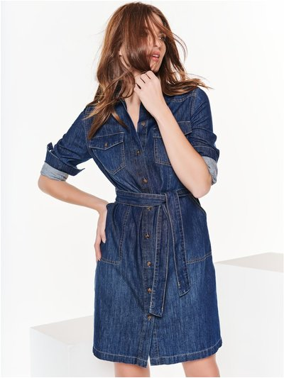 Petite denim shirt dress