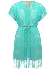 Diamond tassel hem beach cover up