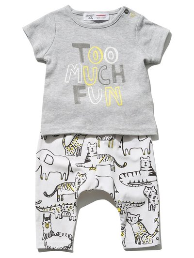 Minoti animal top and jogger set (Newborn - 6 mths)