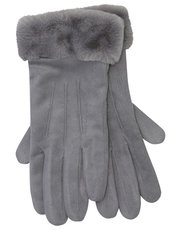 Faux suede fur trim gloves