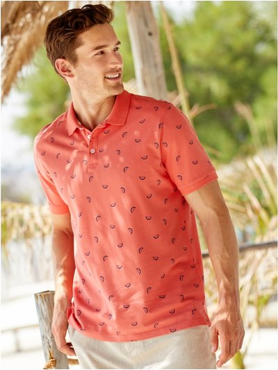 Melon print polo shirt